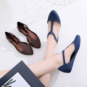 Women-Closed-Toe-Summer-Beach-Flat-Shoes-T-Strap-Jelly-Sandals-Pumps-Shoes