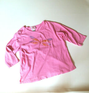 QUACKER-FACTORY-Pink-034-Dragonfly-034-3-4-Sleeve-Knit-Top-Size-1X-100-Cotton-Beaded
