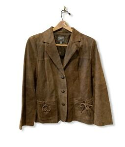 J-Jill-Brown-Leather-Jacket-Distressed-Western-Boho-Equestrian-Size-Medium-Soft