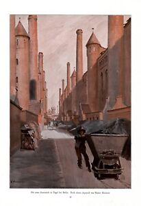 Gasanstalt Berlin Tegel XL Kunstdruck 1912 von Walter Hammer Kippmulde Gaswerk