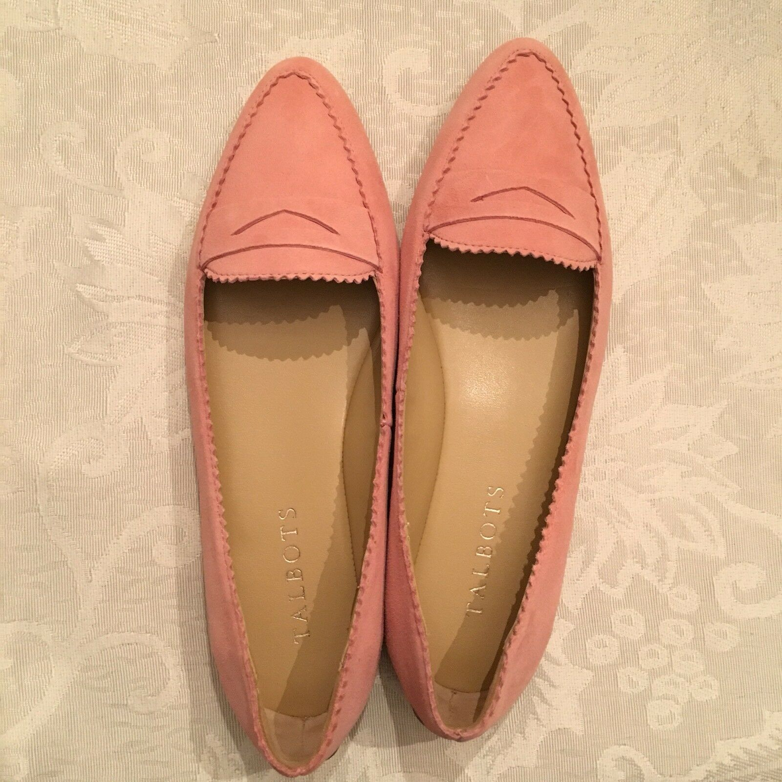 TALBOTS Francesca Keeper Driving Flats Suede Light Pink