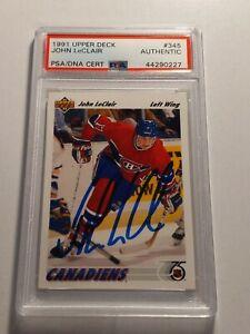 1991-UPPER-DECK-JOHN-LECLAIR-Rookie-Card-PSA-DNA-authenticated-Auto-Flyers-Mint