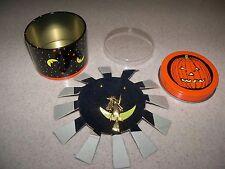 Halloween Pumpkin Tin Witch Broom Pin & Gold Tone Ball Pierced Earrings Set