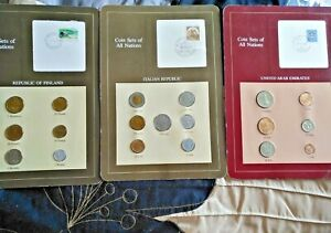3-FRANKLIN-MINT-COIN-SETS-OF-ALL-NATIONS-United-Arab-Emirates-Italy-amp-Finland