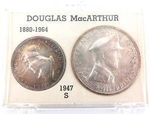 SCARCE-1947S-PHILIPPINES-DOUGLAS-MacARTHUR-UNC-SILVER-2-COIN-SET