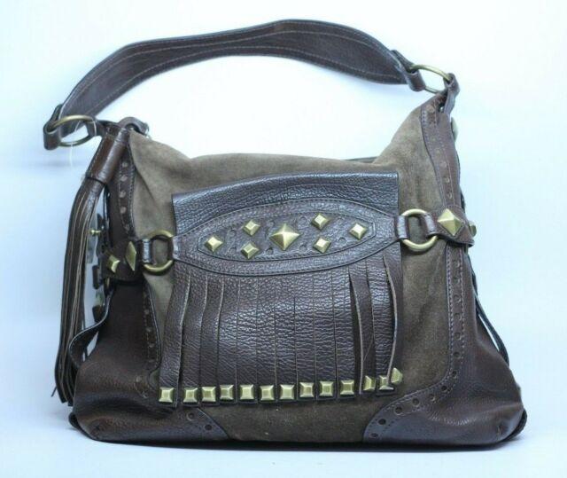 Michael Kors Brown Leather Suede Fringe Studded Handbag ...