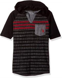 English-Laundry-Toddler-Boys-3T-Striped-Henley-Shirt-Hooded-Short-Sleeve-Black