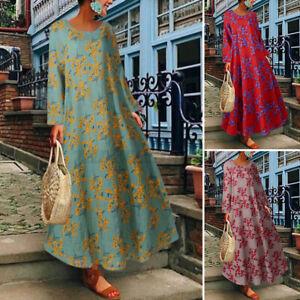 Jolie-Femme-Vintage-Robe-Dresse-Imprime-floral-Col-Rond-Manche-Longue-Loose-Plus