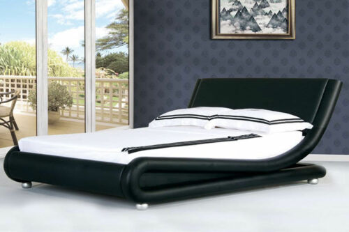 Renzo Modern Italian Designer Leather Bed Double or King Size Mattress