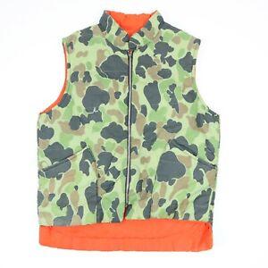 Vtg-60s-Hunting-Vest-Jacket-LARGE-Reversible-Camouflage-Orange-Lightweight