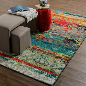 8x10 7 6 X 10 Contemporary Modern Abstract Multi Color Area Rug