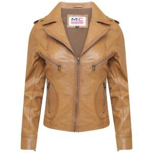 Womens LEATHER JACKET Ladies Biker Soft SHEEP NAPPA 100/% Genuine Leather