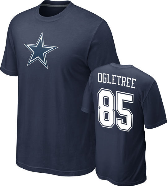 NFL FOOTBALL T-Shirt DALLAS COWBOYS Kevin Ogletree 85 Navy Star NAME NUMBER