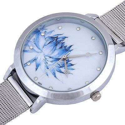 Women's Round Dial Stainless Steel Mesh Quartz Wrist Watch Quartz New Fashion