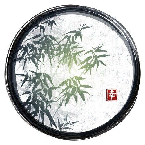 TAPISSERIE ASIE Cercle Avec Bambou Et Cadre Noir Décoration
