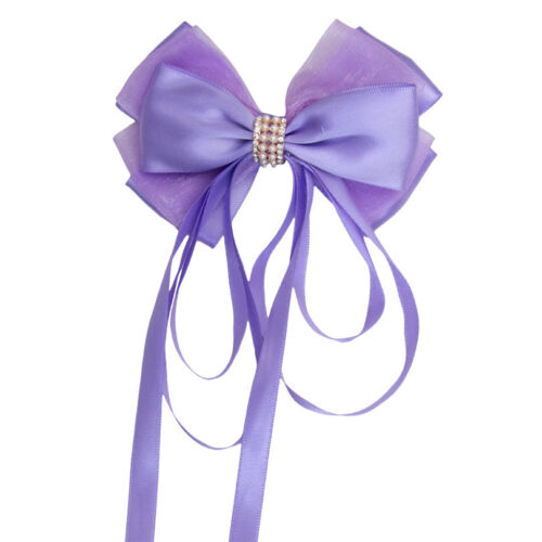 Women/'s Satin Ribbon Boutique Ponytail Bow Hair Barrette Clips Pins Accessories