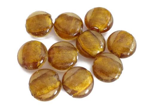 10 GLASPERLEN LINSEN 20mm altgold mit Silberfolie Perlen nenad-design AN177