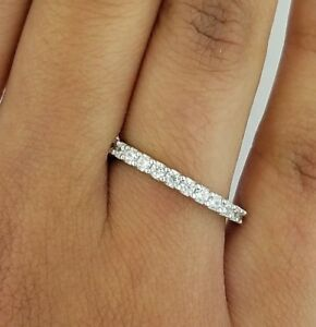 0.83ct Round Diamond Engagement Wedding Band Solid 14k Solid White Gold Jewelry & Watches Fine Rings