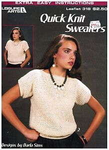 Leisure-Arts-Quick-Knit-Sweaters-Leaflet-318-Knitting-Patterns-1984-Darla-Sims