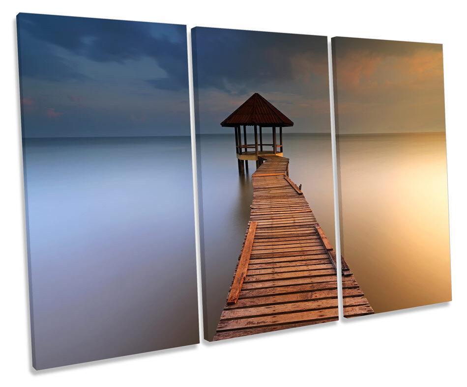 Moody Seascape Jetty Pier Beach TREBLE CANVAS WALL ART Box Framed Picture