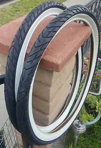 Two RED White Wall Beach Cruiser 26x2.125 Bicycle Tires Slick Diamond 26/""
