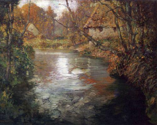 River Landscape by G A Aldrich Art Autumn Fall Cottages Trees 8x10 Print 0217