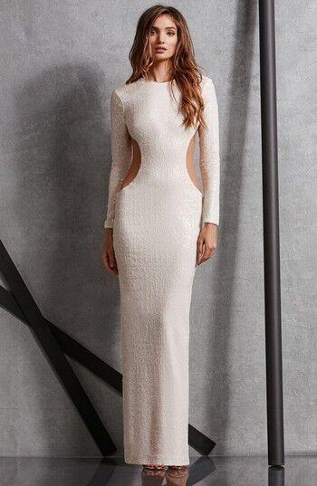 DRESS the POPULATION POPULATION POPULATION White Sequin Cutout Sheer Bodycon LARA Stretch Maxi Gown M a80614