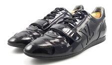 Louis Vuitton Authentic Men's Patent Leather Strap Sneakers Shoes 7, 8 US Black