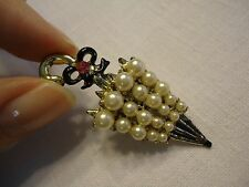 Vintage Enamel Rhinestone & Pearl Umbrella Novelty Brooch Pin
