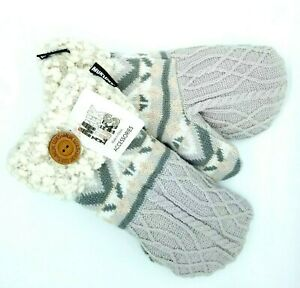 MUK-LUKS-Women-039-s-Potholder-Mittens-Knit-Fair-Isle-Nordic-Cable-Knit-Fuzzy-Gray