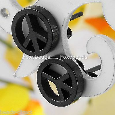 Pair 20G Black Stainless Steel Peace Symbol Men's Ear Stud Earrings Fashion Punk