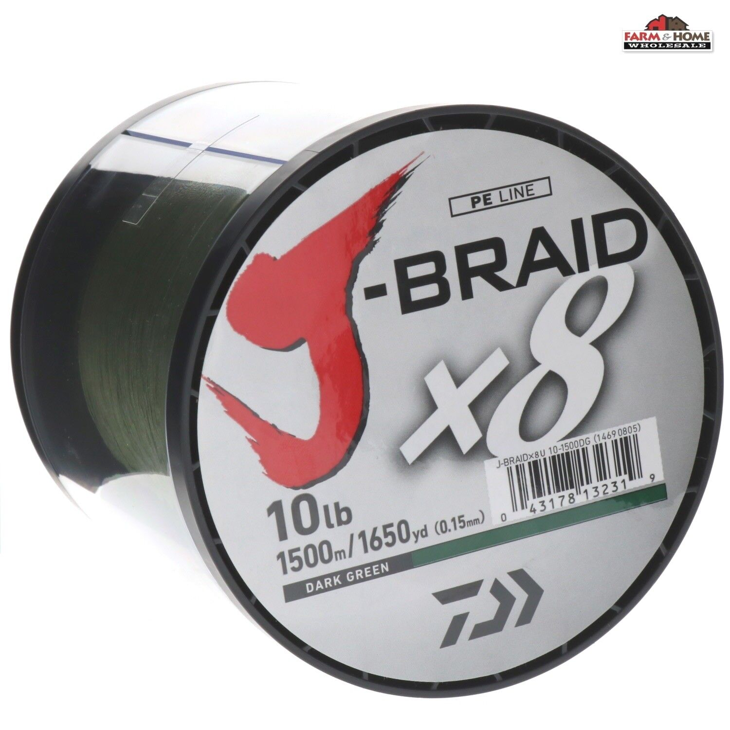 Daiwa JBraid 10lb Braided Line 1650yd Dark verde  New