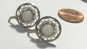 Vintage-Floating-Opal-in-Glass-Earrings-12k-Gold-Filled-GF-Filigree-Detail