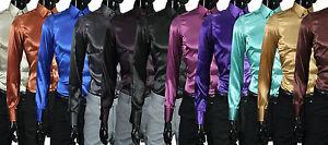 Herren-Hemd-in-verschiedenen-Farben-Satin-Slim-Fit-Regular-Fit-Buehne