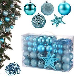 Christbaumkugeln Blau.Details Zu 84er Weihnachtskugeln Christbaumkugeln Set Ink Baumspitze Klein Plastik Blau