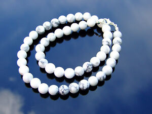 White-Howlite-Natural-Gemstone-Necklace-8mm-Beaded-16-30inch-Healing-Stone