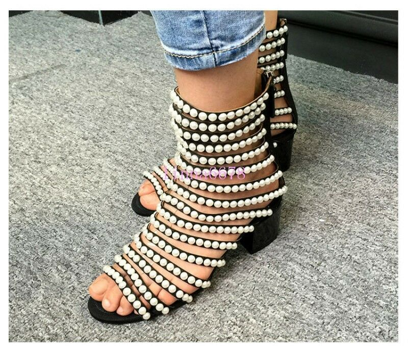 HOT Womens Roma Gladiator Mid Calf Ankle Ankle Ankle Boots Summer Sandals Beads Strappy Zip b0c5ea