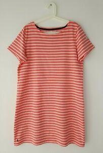 JOULES-Riviera-Pink-White-Stripe-Short-Sleeve-Jersey-T-Shirt-Dress-Size-18