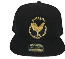 SINALOA MEXICO EL GALLO DE ORO HAT  BLACK SNAP BACK FLAT BUILD ADJUSTABLE