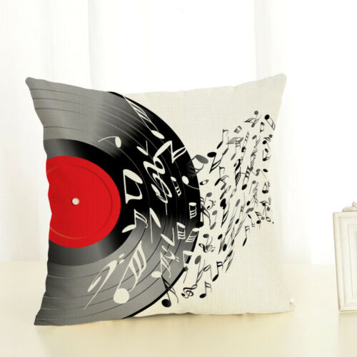 Cushion Cover Pillow Case Musical Note Guitar Microphone Home Couch Decorative