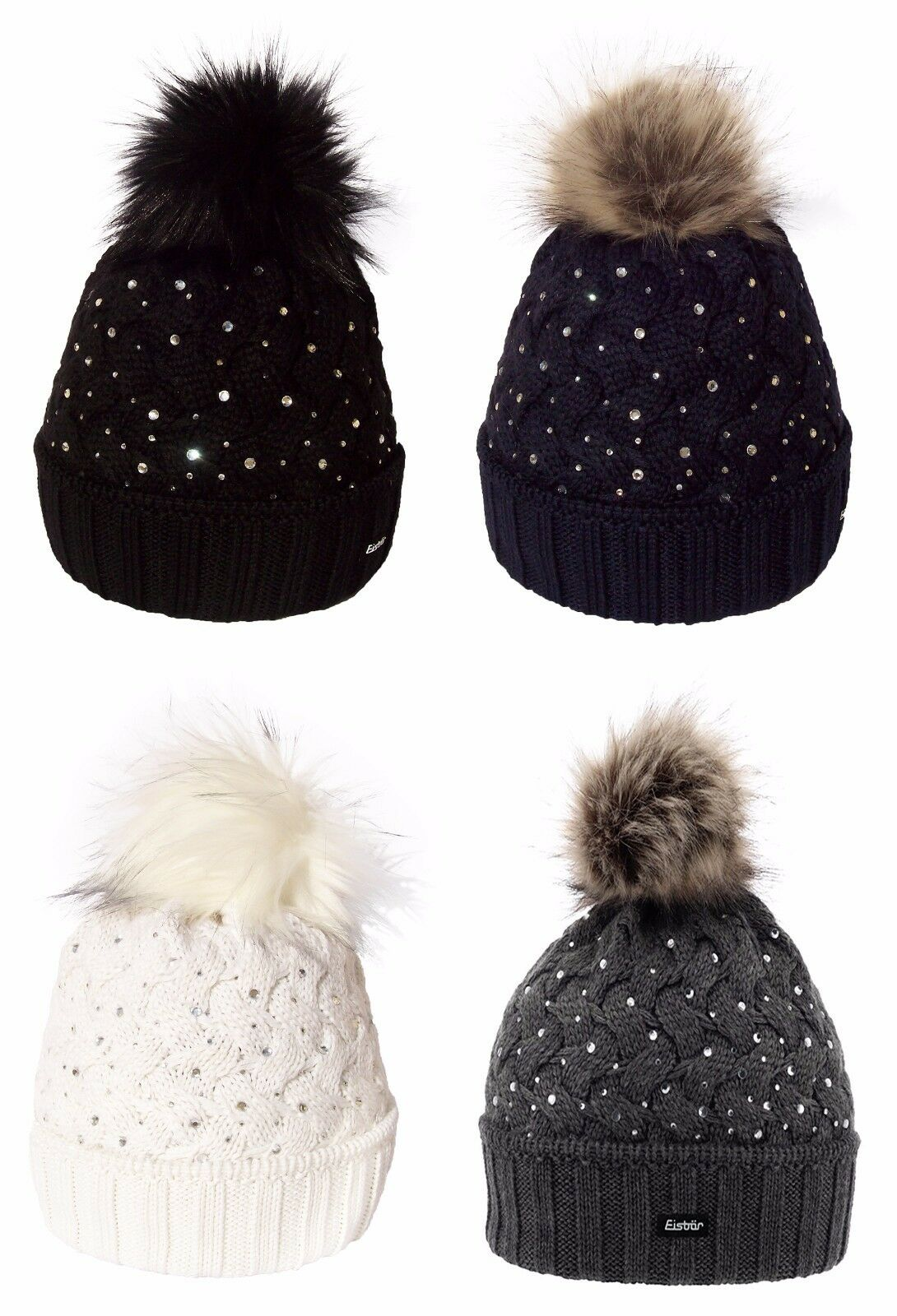 EISBAR ALICE LUX CRYSTAL with Faux Fur Pompon Winter Merino Wool Sports Ski Hat