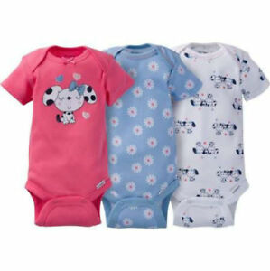 dabae5cfe0a0 NWT Gerber Baby Girls 3 Pack Onesies Preemie Size Elephant or Dogs ...