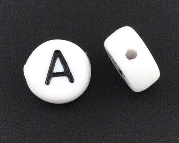 """1000 Hot Sell Acrylic Alphabet/Letter """"A"""" Round Spacer Beads 7mm"""
