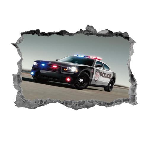 autocollant 3D Wall Art Decal Voiture de police murale