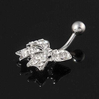 Fashion Steel Rhinestone Bowknot Button Navel Rings Bar Body Piercing Jewelry