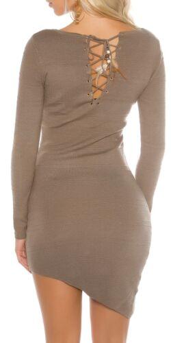 KOUCLA a maglia abito miniabito vestito dress Asymetrisch con federdeko