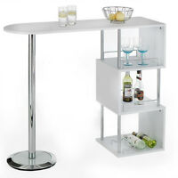 Breakfast Bar Table White Kitchen Furniture Modern Coffee Dining Home Wine Rack