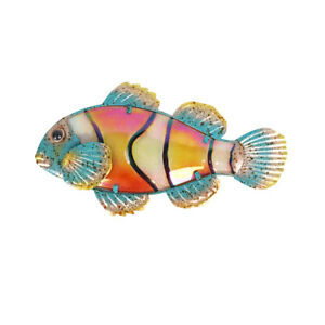porch room Metal /& Glass Fish Wall Decor hanging sculpture for patio