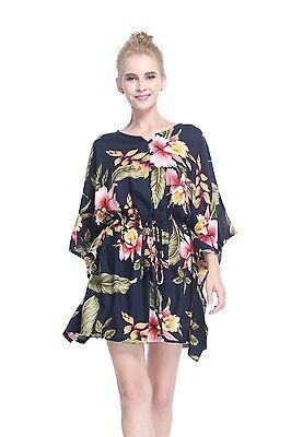 Poncho Dress Top Luau Tropical Cruise Hawaiian Tie Beach Plus Size Black  Rafelsi | eBay