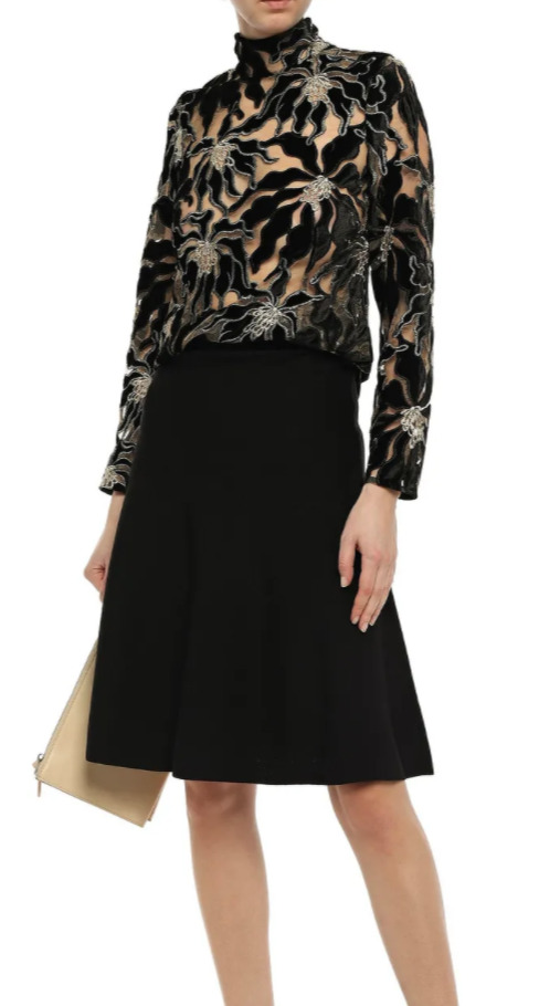 BEAUFILLE Embroidered Burnout Velvet and Lace Lon… - image 2